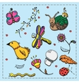 Set of doodles flora insects and birds vector image