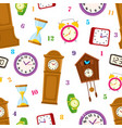 flat clock types icon seamless pattern vector image