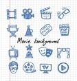 blue movie icon set vector image