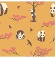 Seamless pattern of sakura tree and panda vector image