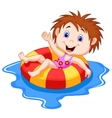 Girl cartoon floating on an inflatable circle in t vector image