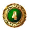 4 years anniversary golden label vector image