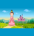 beautiful young dark haired fairytale princess vector image