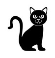 black cat sitting domestic animal silhouette icon vector image vector image