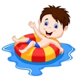 Boy cartoon floating on an inflatable circle in th vector image vector image