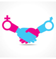 businessman handshake with male and female symbol vector image