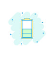 cartoon colored battery icon in comic style vector image vector image