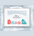 christmas certificate with grey realistic border vector image