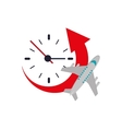 clock with arrow and airplane icon vector image