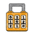 color crayon stripe cartoon combination padlock vector image