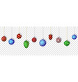 colorful christmas balls set on transparent vector image vector image