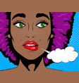 confused african woman with open mouth vector image vector image
