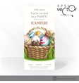 Easter Background With A Basket Full Easter Eggs vector image