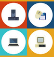flat icon laptop set of processor computer vector image vector image