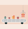 gift boxes on belt machine vector image