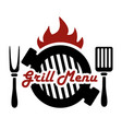 grill barbecue logo or label for restaurant menu vector image