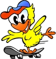 Hand-drawn of an cute baby chicken on skateboard vector image vector image