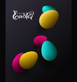 happy easter colored eggs on black background vector image