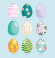 happy easter decorative eggs ornament celebration vector image