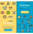hello summer banner vecrtical set vector image vector image