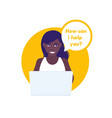 help service african american woman at laptop vector image