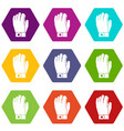 hockey glove icon set color hexahedron vector image vector image