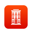 hotel building icon digital red vector image vector image