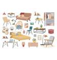 house interior decor furniture set with wardrobe vector image vector image