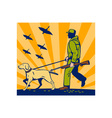 Hunter with rifle walking trained hunting gun dog vector image vector image