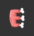 letter e meat font pork and bone alphabet sign vector image vector image