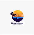 logo beach landscape vintage badge style vector image