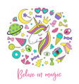 magic unicorn and collection cute stickers vector image vector image
