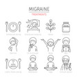 migraine treatment outline icons set vector image vector image