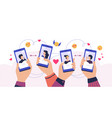 mobile dating app cartoon hands holding vector image
