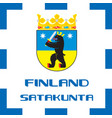 national ensigns flag and emblem of finland vector image vector image