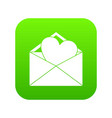 open envelope with heart icon digital green vector image vector image