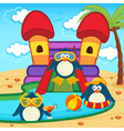penguins in aqua park vector image