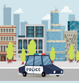 police car and police patrol on a road in city vector image vector image