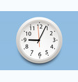 realistic classic white round wall clock icon vector image