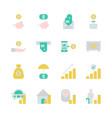 saving money and investment in flat icon set vector image vector image