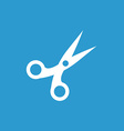 scissors icon white on the blue background vector image vector image