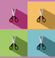 scissors icon with shadow on colored backgrounds vector image