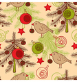 seamless pattern with birds and Christmas tree vector image vector image