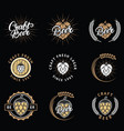 set craft beer emblems logos badges vector image vector image
