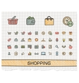 Shopping hand drawing line icons doodle vector image vector image