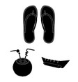 Summer rest black icons in set collection for