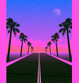 synthwave poster with dream road and palms pink vector image