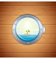 Tropical Island view from Porthole Image vector image vector image