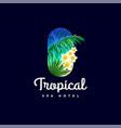 tropical logo spa hotel emblem palm leaves flowers vector image