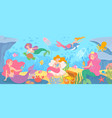 underwater with mermaids seabed with mythical vector image vector image